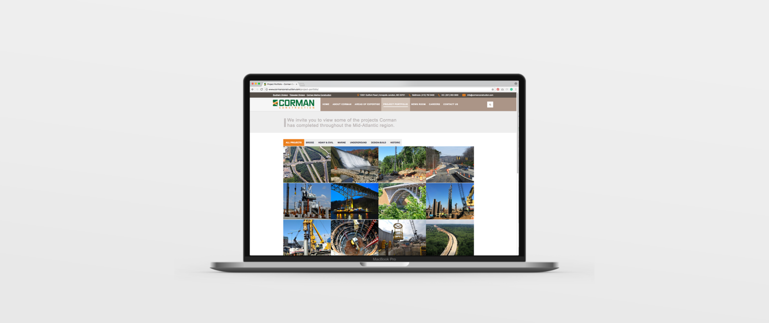 Corman Construction - Web Design | Portfolio | Pomerantz Marketing